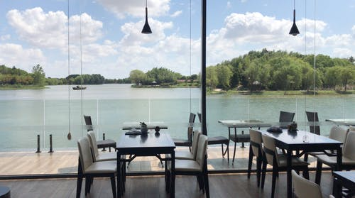 Free stock photo of good restaurant, lake, view, window