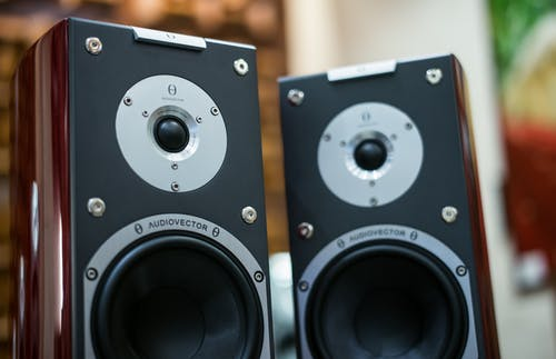 Selective Focus Photography of Two Brown-and-black 2-way Bookshelf Speakers