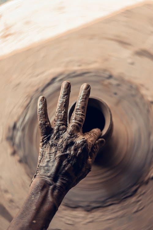 artiest, hand, klei