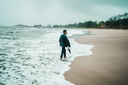 Free stock photo of black suit, ocean, portrait