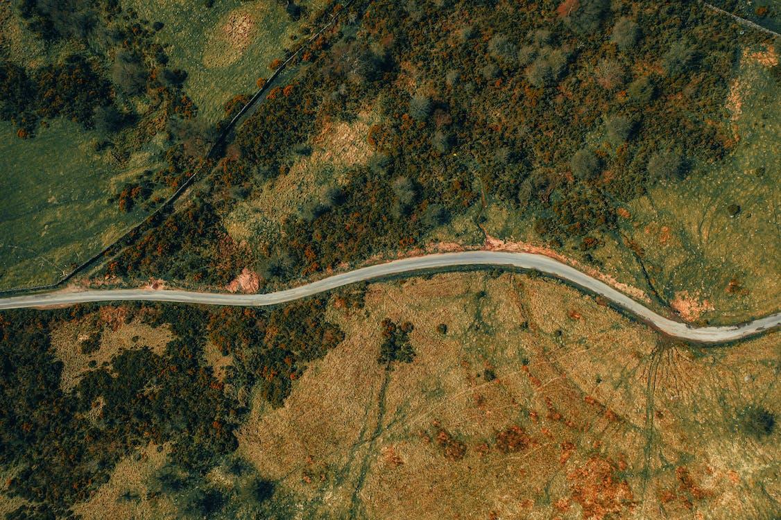 dálnice, fotka zvysokého úhlu, fotografie zdronu