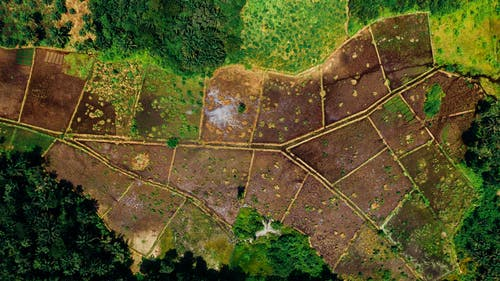Aerial View of Plots Of Farm Land