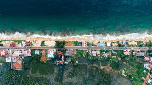 Aerial Photography of Houses Near Seashore