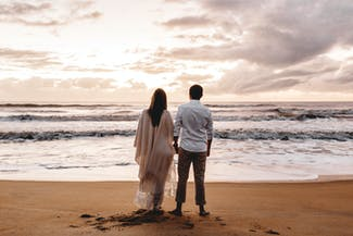 Couple Standing on the Seshore