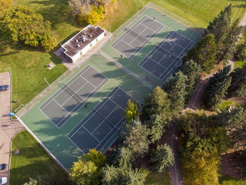 Free stock photo of aerial photography, drone photography, tennis, tennis court