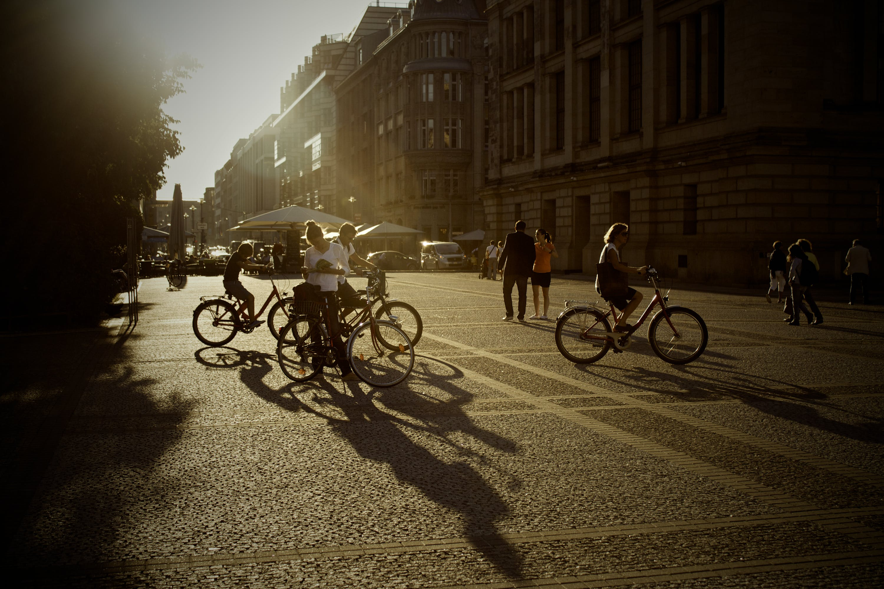 Group of People Riding a Bikes