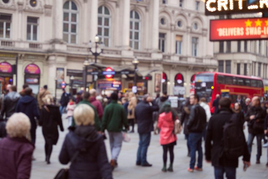 blurred, buildings, bus