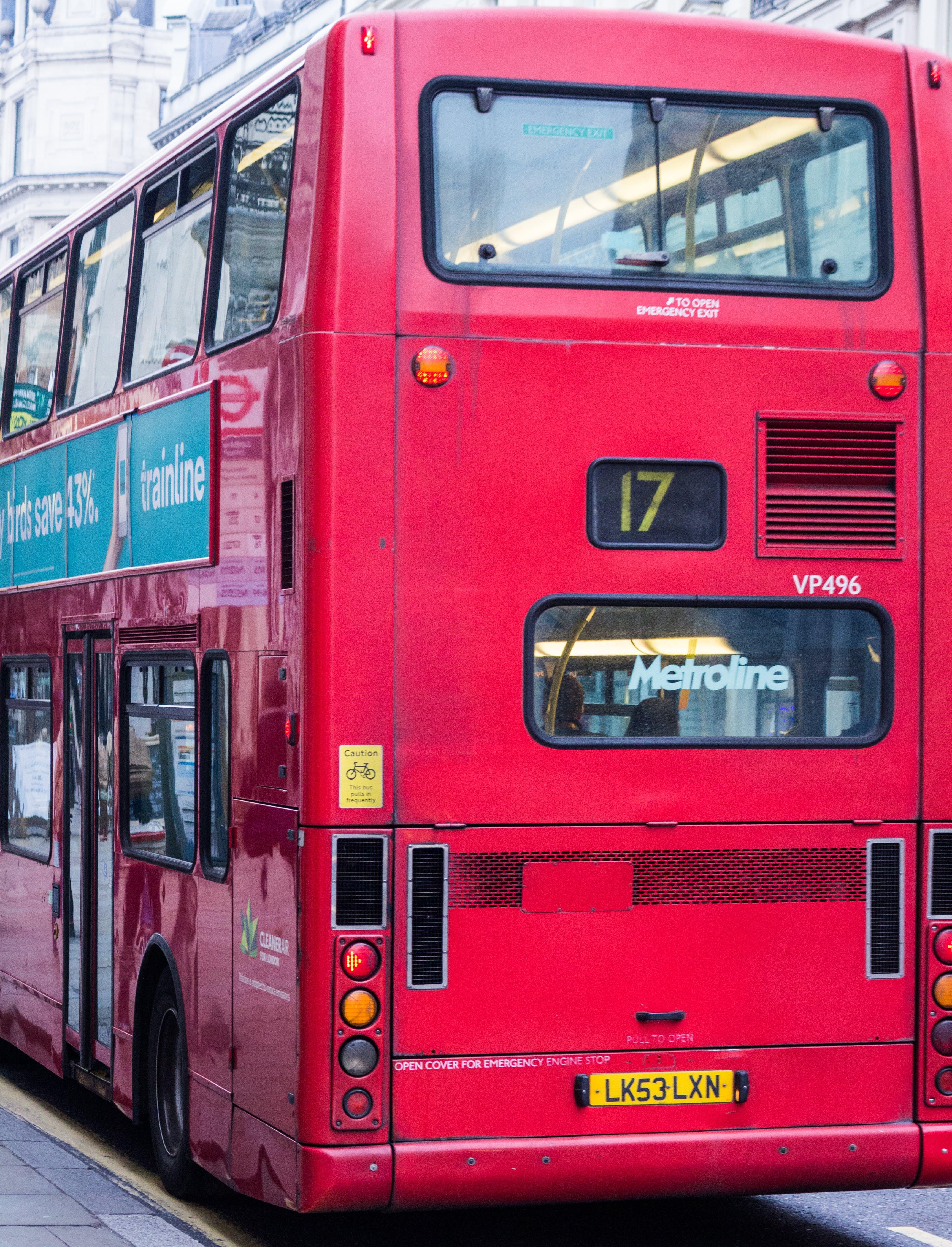 bus, cable car, city