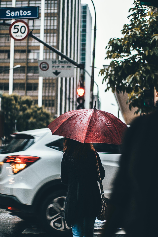 Woman Under Open Umbrella Near White Suv