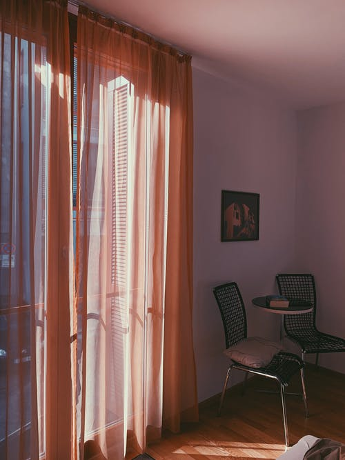 Orange Window Curtain