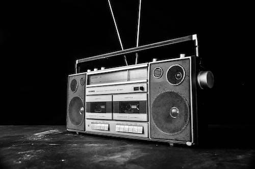 Free stock photo of audio, black and white, black background, boombox