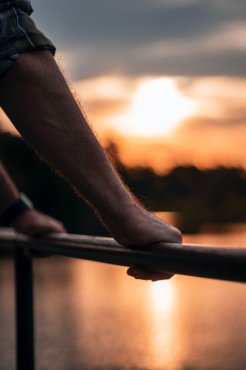 Free stock photo of golden, golden hour, hands, lake