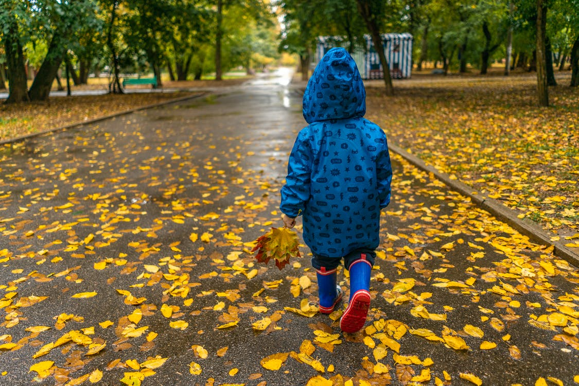 Photo of Kid Wearing Raincoat While Walking on Park