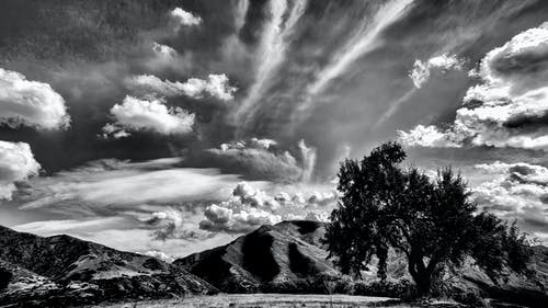 Free stock photo of black and white, clouds, landscape, mountains