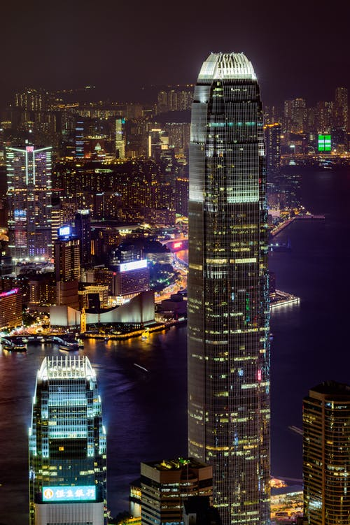 Free stock photo of buildings, city night, hong kong, long exposure