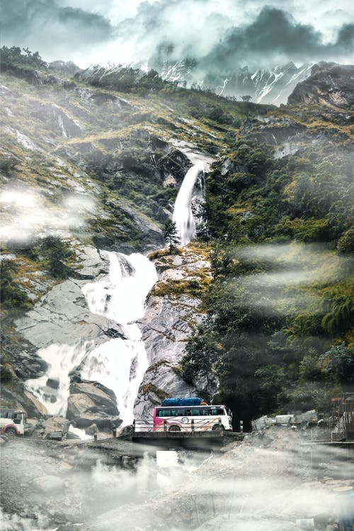 Free stock photo of fog, waterfall