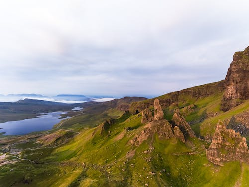 Free stock photo of aerial, beatiful landscape, epic, isle of skye