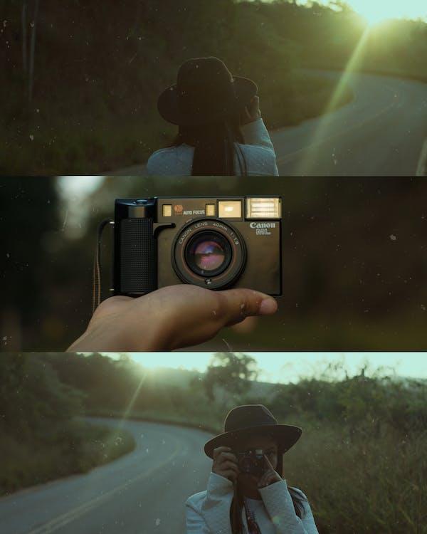 appareil photo, appareil photo analogique, femme