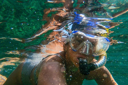 Woman Wearing Goggles and Snorkel