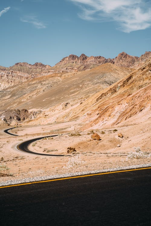 Winding Road Near Desert Mountains