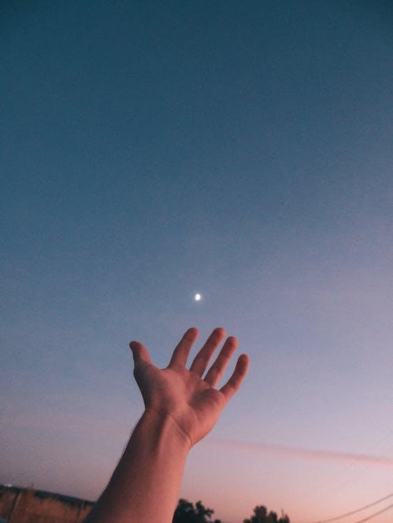 aften, hånd, himmel