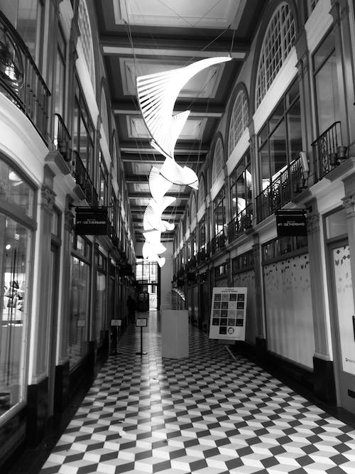 Free stock photo of black and white, empty, inside, london