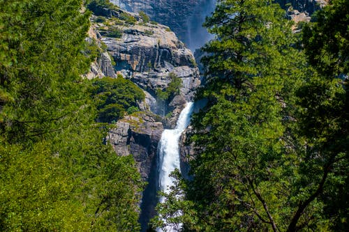 Waterfalls On Rocky Mountain Near Green-leafed Trees