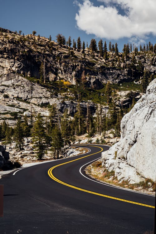 Winding Road Along Rocky Mountains