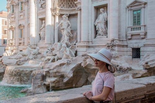 噴泉, 夏天, 女孩, 帽子 的 免费素材照片