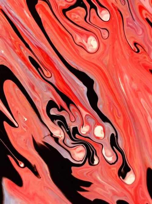 Red and Black Melted Abstract Painting