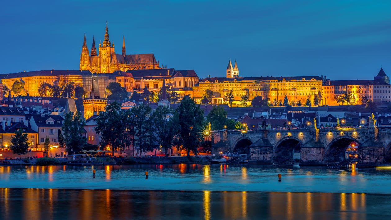Reflection Of Illuminated Lights Of Prague Castle On The Lake