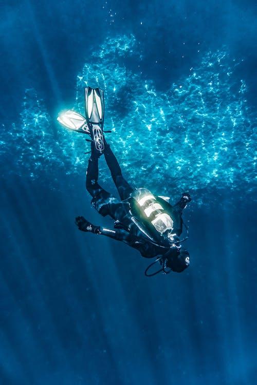 аквалангіст, вода, глибокий