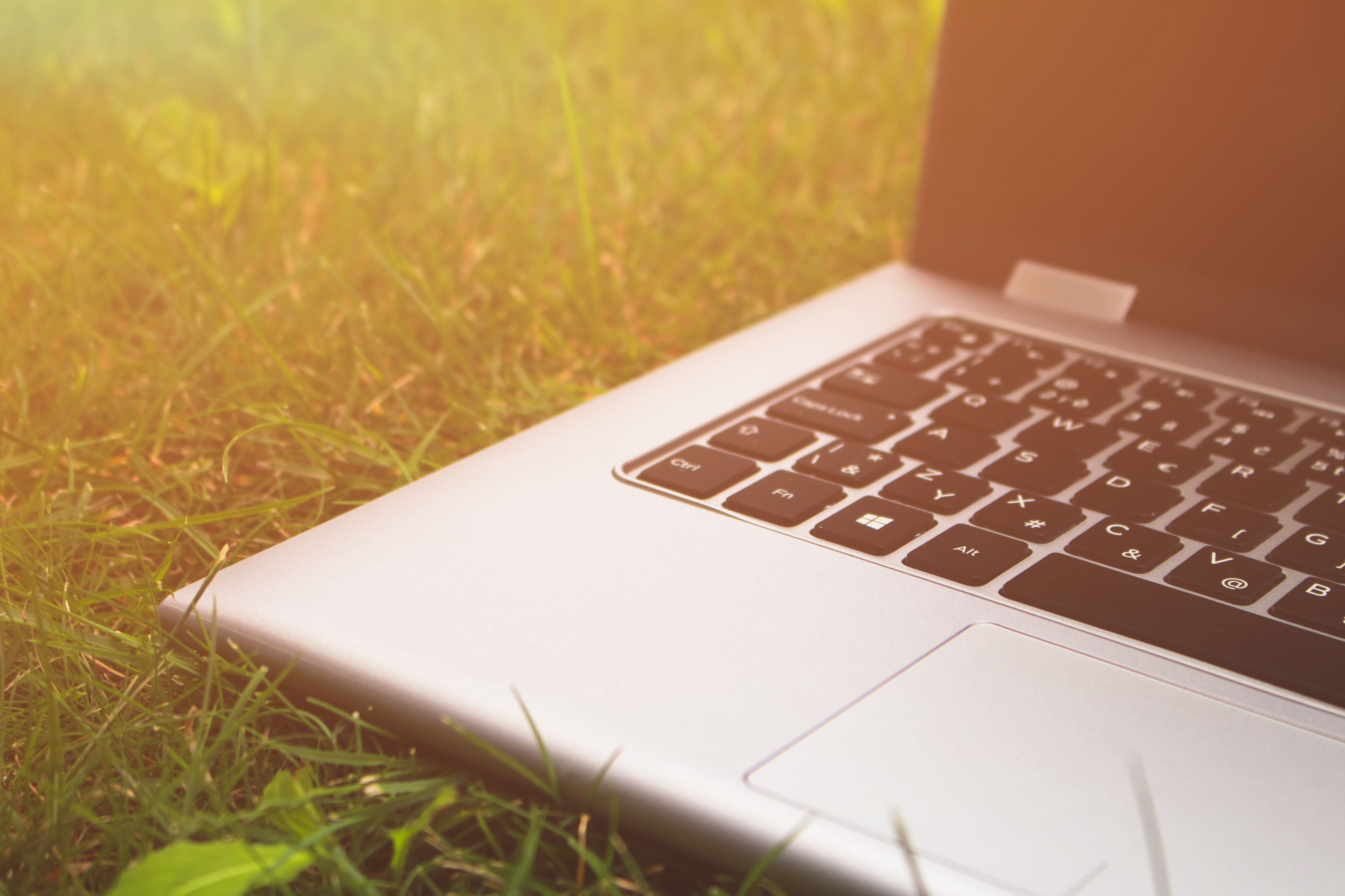 Free stock photo of grass, keyboard, laptop, notebook
