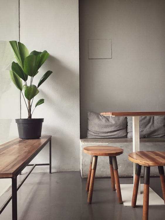 Wooden Bench And Stools In A Cozy Room