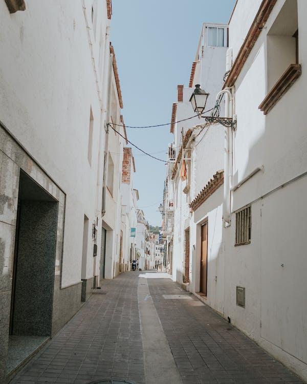Narrow Pathway Between Concrete Buildings