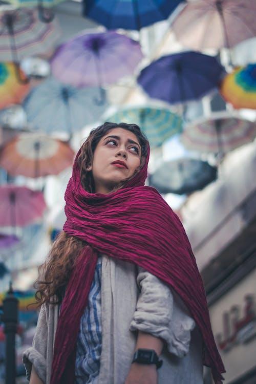 Woman Wearing Maroon Headscarf
