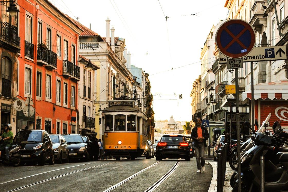 auto, camminando, città