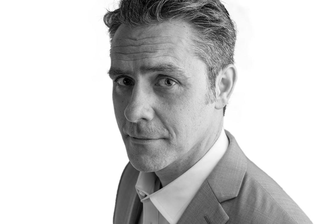black and white, man, portrait