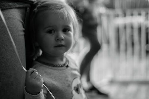 Free stock photo of baloon, black and white, girl, kid