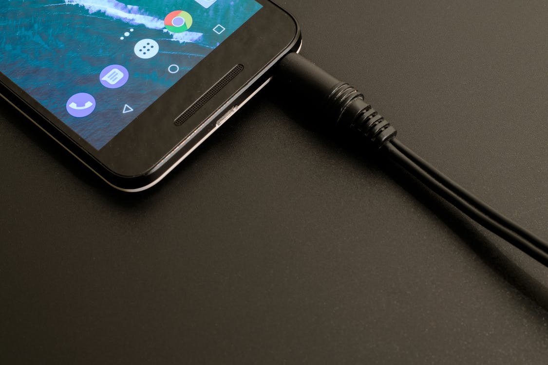 Turned-on Android Smartphone With Audio Jack