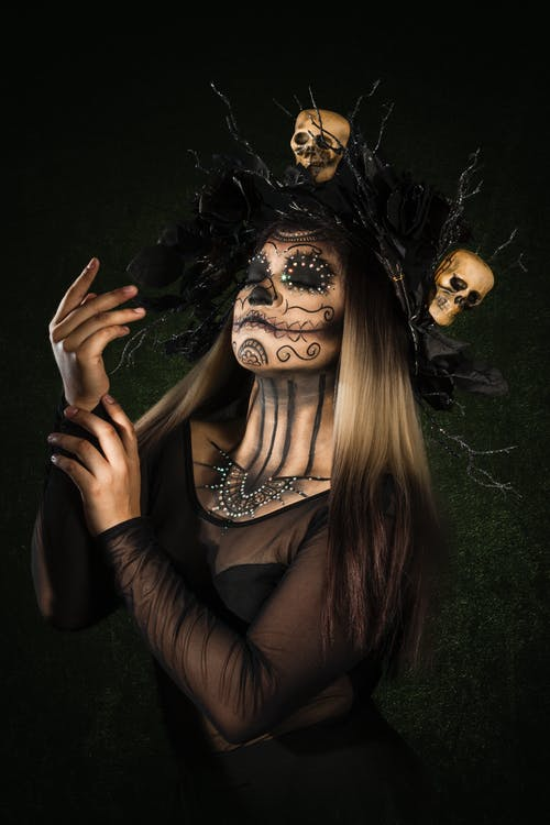 Free stock photo of body paint, calavera, candle