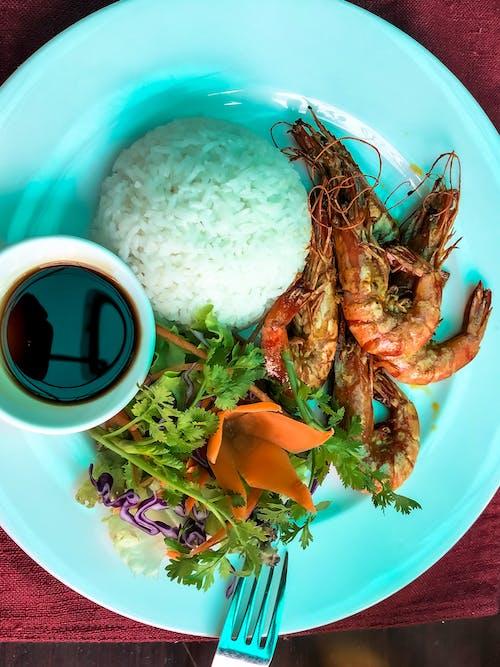 Gratis arkivbilde med asiatisk mat, mat, reker, ris