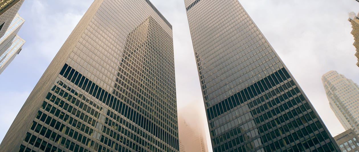Low Angle Shot Of High Rise Buildings