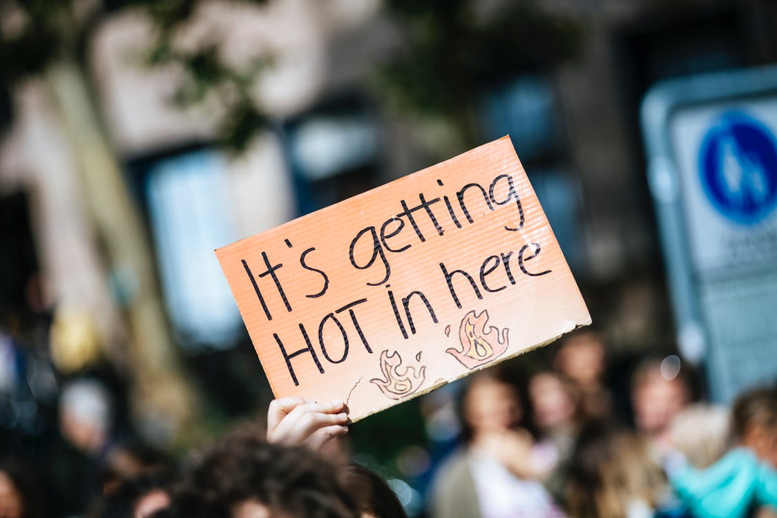 Person Holding It's Getting Hot in Here Sign