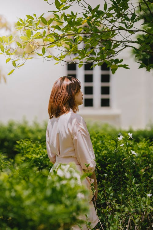 Photography of Woman Standing Beside Green Plants