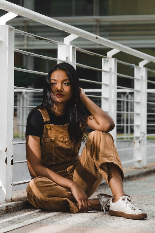 Women's Brown Denim Dungarees