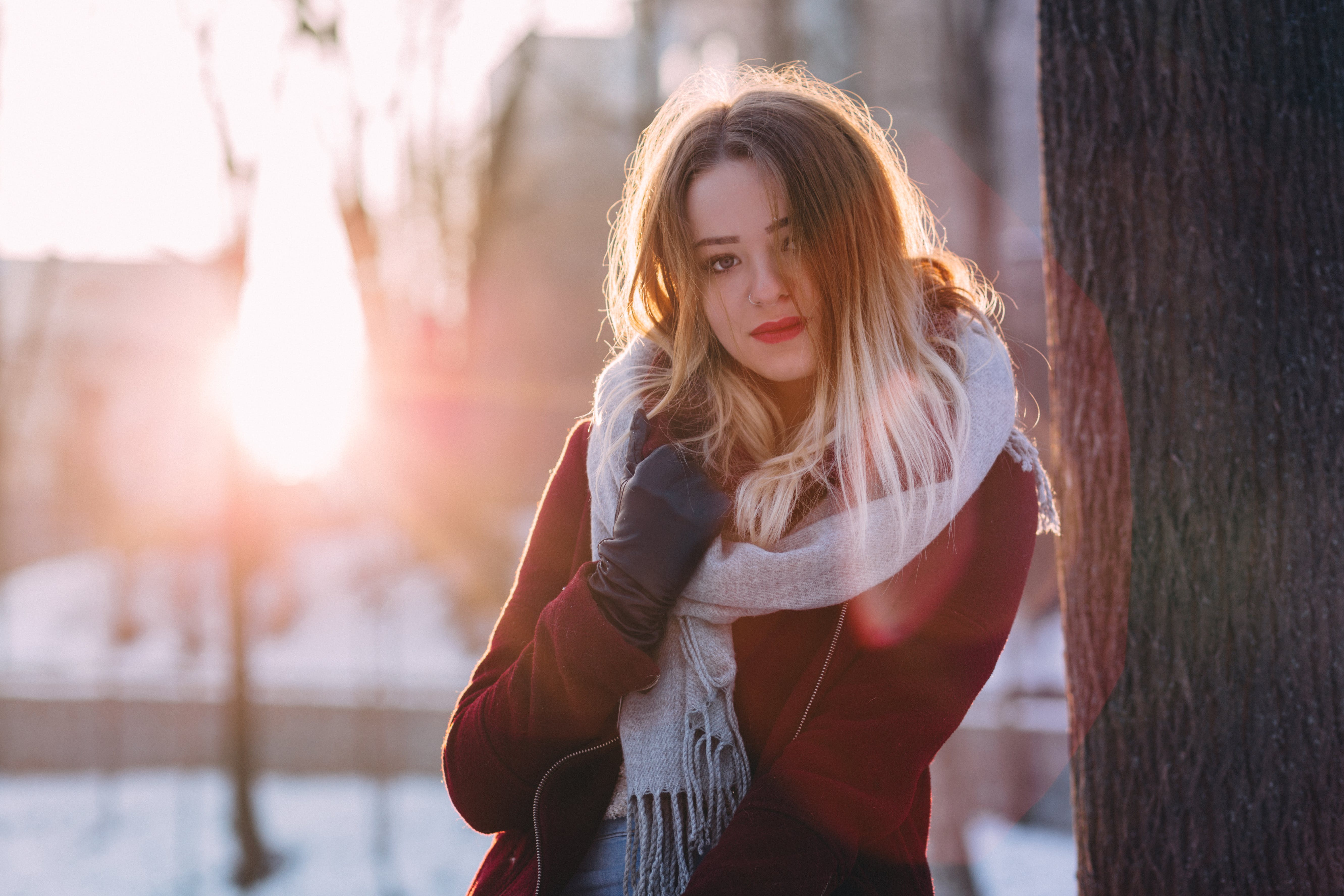 Portrait of Young Woman during Winter