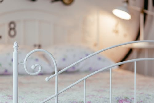 White Metal Bed Frame ]
