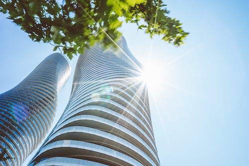 Gratis stockfoto met architectonisch, architectuur, blauwe lucht, boom