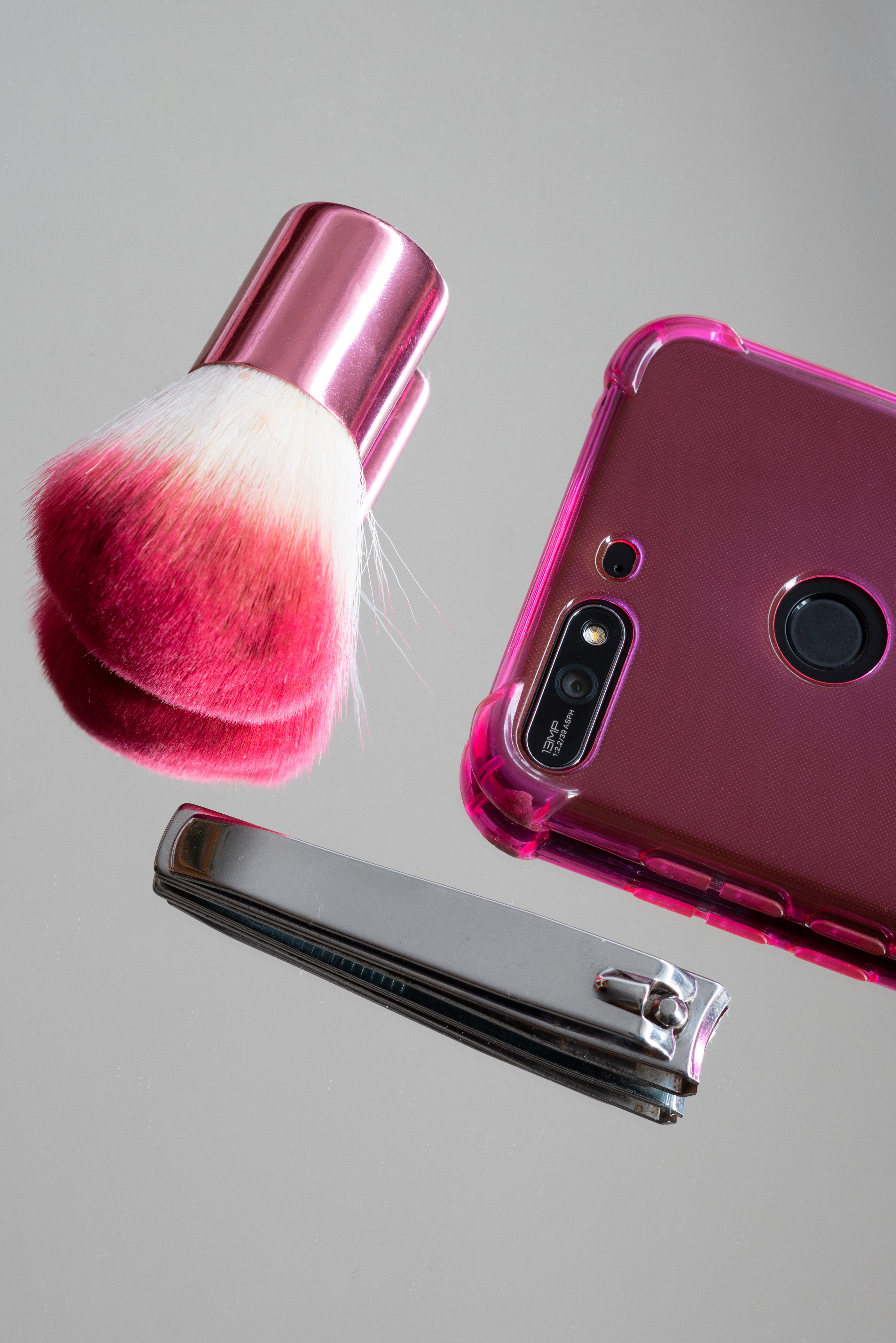 Pink Makeup Brush And Stainless Steel Nail Clipper